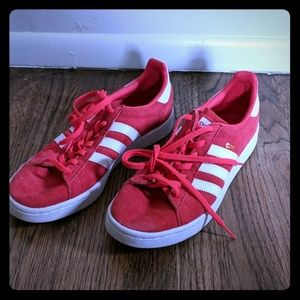 Women's hot pink suede Adidas campus shoes size 10